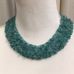 Jewelry - AQUA COLORED BEADED NECKLACE AND BRACELET SET NWOT